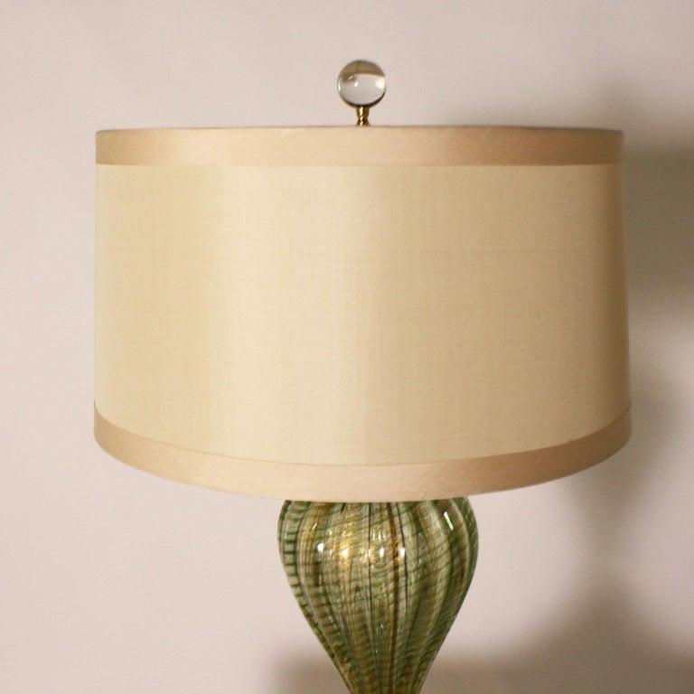 Pair of Barovier & Toso Coronado d'Oro green lamps, circa 1950 In Good Condition For Sale In Dallas, TX