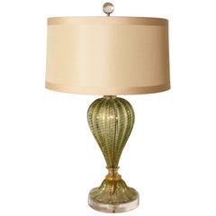 Pair of Barovier & Toso Coronado d'Oro green lamps, circa 1950