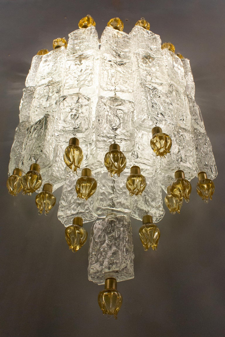 Pair of Barovier & Toso Glass Blocks with Gold Tulip Sconces, 1940 For Sale 4