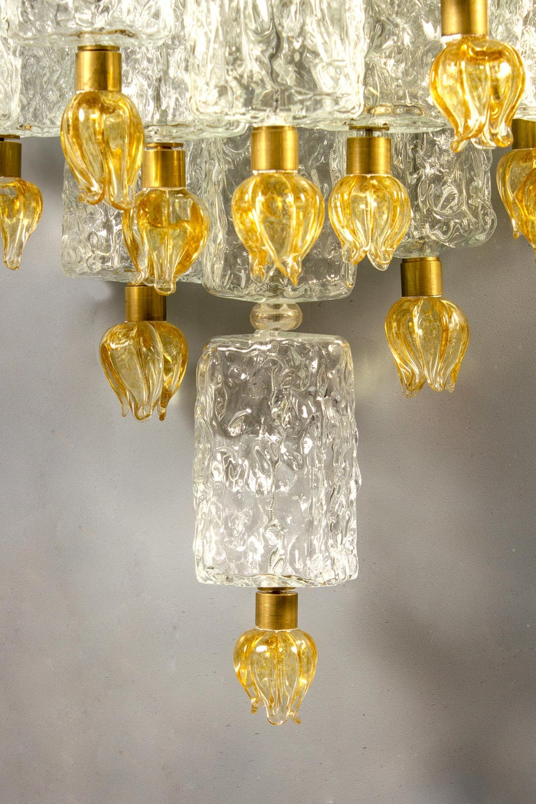 Pair of Barovier & Toso Glass Blocks with Gold Tulip Sconces, 1940 For Sale 5