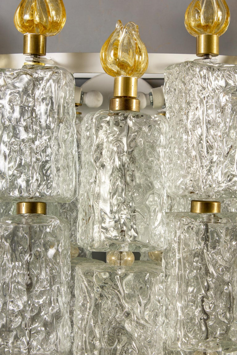 Art Deco Pair of Barovier & Toso Glass Blocks with Gold Tulip Sconces, 1940 For Sale