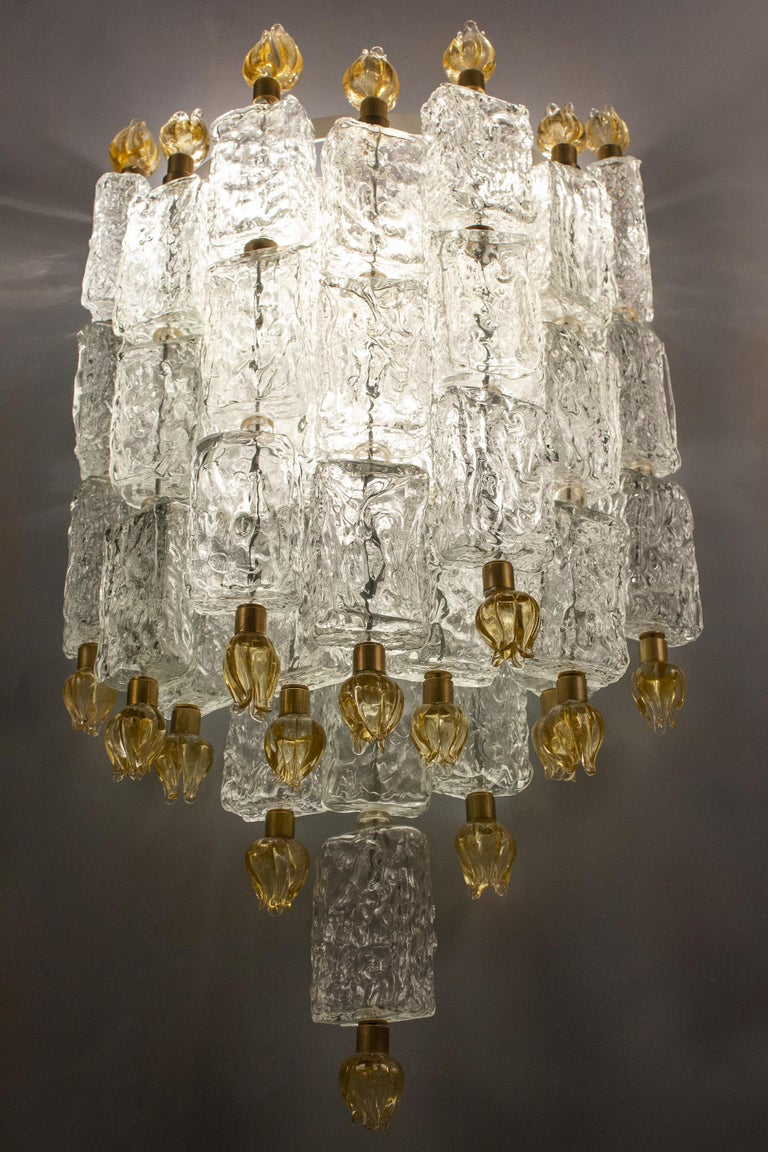 Italian Pair of Barovier & Toso Glass Blocks with Gold Tulip Sconces, 1940 For Sale