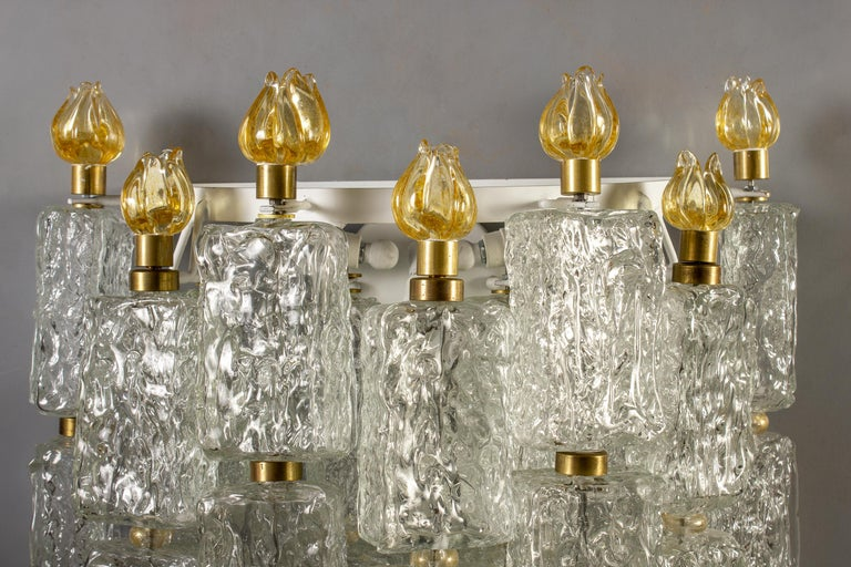 Pair of Barovier & Toso Glass Blocks with Gold Tulip Sconces, 1940 In Excellent Condition For Sale In Rome, IT