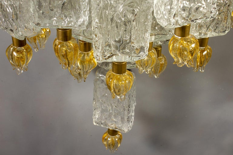 Mid-20th Century Pair of Barovier & Toso Glass Blocks with Gold Tulip Sconces, 1940 For Sale