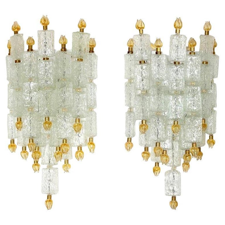 Pair of Barovier & Toso Glass Blocks with Gold Tulip Sconces, 1940 For Sale