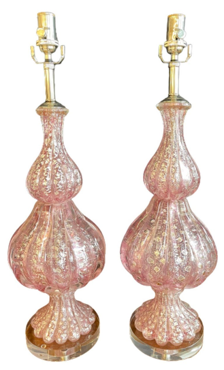 Art Deco Pair of Barovier & Toso Murano Glass Lamps Lucite Base For Sale
