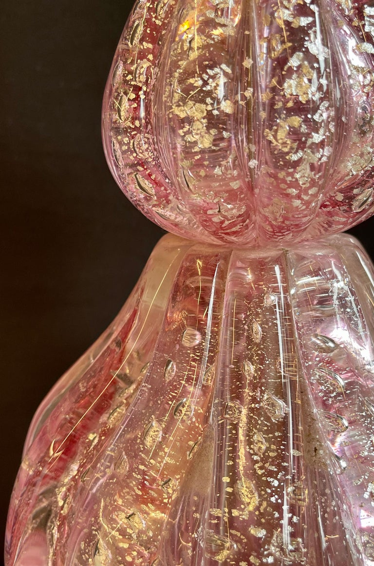 Pair of Barovier & Toso Murano Glass Lamps Lucite Base In Good Condition For Sale In Stamford, CT