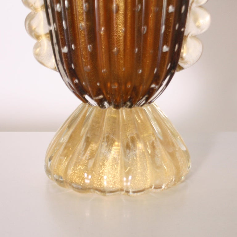 Pair of Barovier & Toso Murano glass vases, circa 1950.