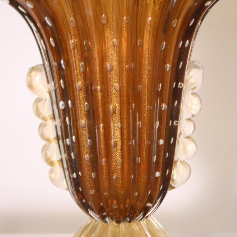 Pair of Barovier & Toso Murano Glass Vases, circa 1950 In Good Condition For Sale In Dallas, TX