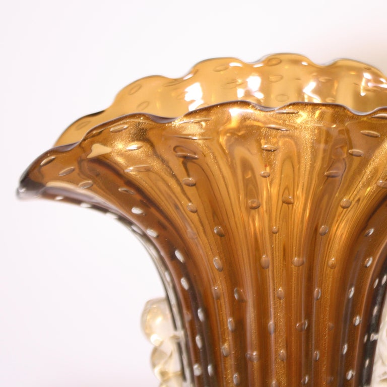 Pair of Barovier & Toso Murano Glass Vases, circa 1950 For Sale 1