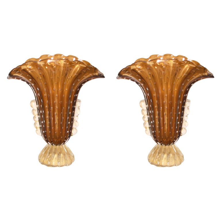 Pair of Barovier & Toso Murano Glass Vases, circa 1950 For Sale