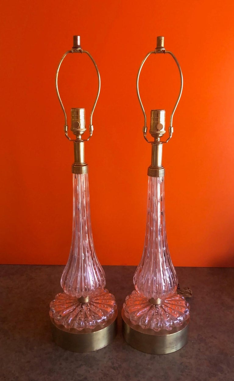 Pair of Barovier & Toso Pink Bullicante Murano Glass Table Lamps For Sale 4