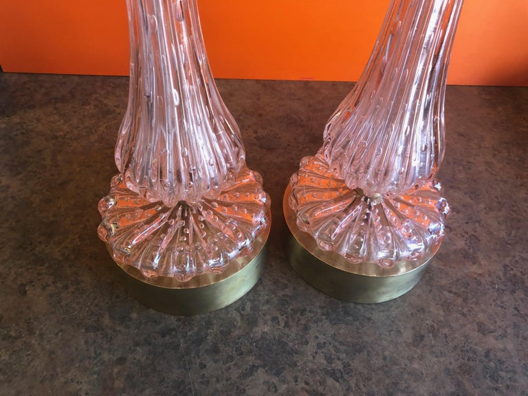 Pair of Barovier & Toso Pink Bullicante Murano Glass Table Lamps For Sale 2