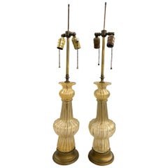 Pair of Barovier Venetian Glass Table Lamps with 22-Karat Gold Dust Inclusions