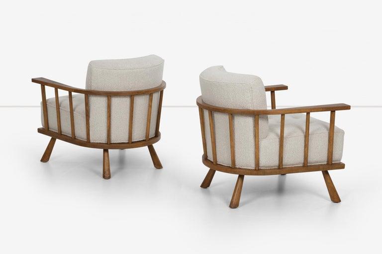 Fabric Pair of Barrel Back Lounge Chairs by Robsjohn-Gibbings
