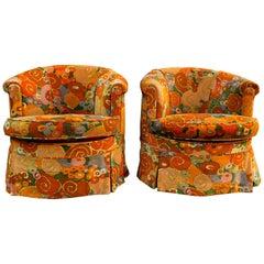 Pair of Barrel Chairs in Jack Lenor Larsen Fabric