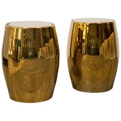 Pair of Barrel Shaped Stools / End Tables