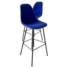Pair of Barstools Designed by Eames for Herman Miller with Blue Velvet Covers