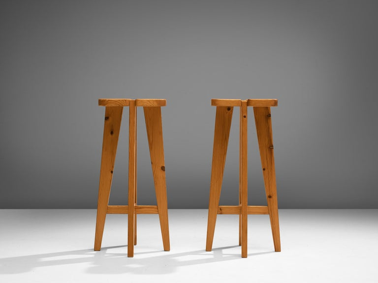 Finnish Pair of Barstools in Solid Pine by Lisa Johansson Pape For Sale