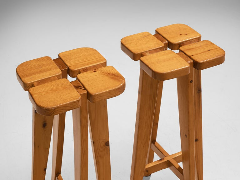 Mid-20th Century Pair of Barstools in Solid Pine by Lisa Johansson Pape For Sale