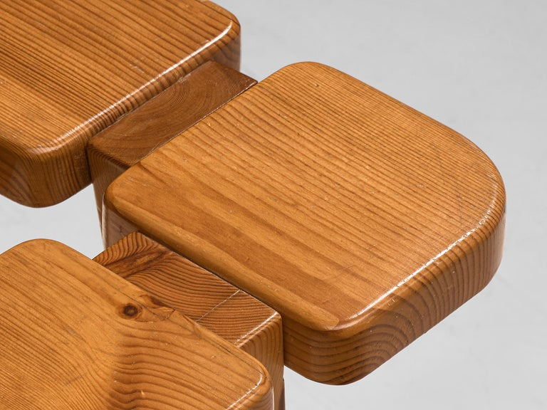 Pair of Barstools in Solid Pine by Lisa Johansson Pape For Sale 1