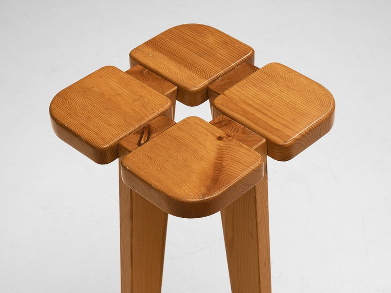 Pair of Barstools in Solid Pine by Lisa Johansson Pape For Sale 2