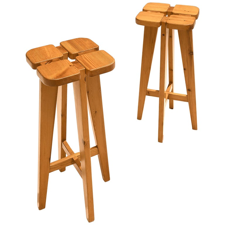 Pair of Barstools in Solid Pine by Lisa Johansson Pape For Sale
