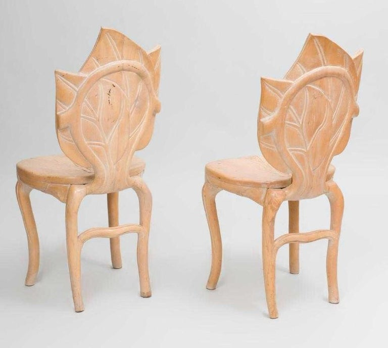 Pair of hand carved leaf side chairs by Bartolozzi and Maioli.