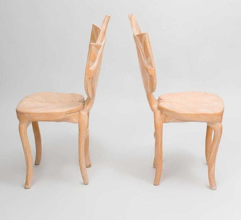 Hand-Carved Pair of Bartolozzi & Maioli Carved Wooden Side Chairs For Sale