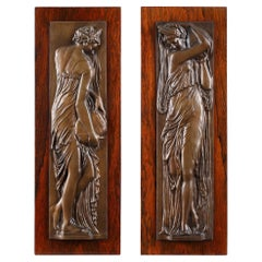 """Pair of Bas-Relief, """"Women carrying water"""""""