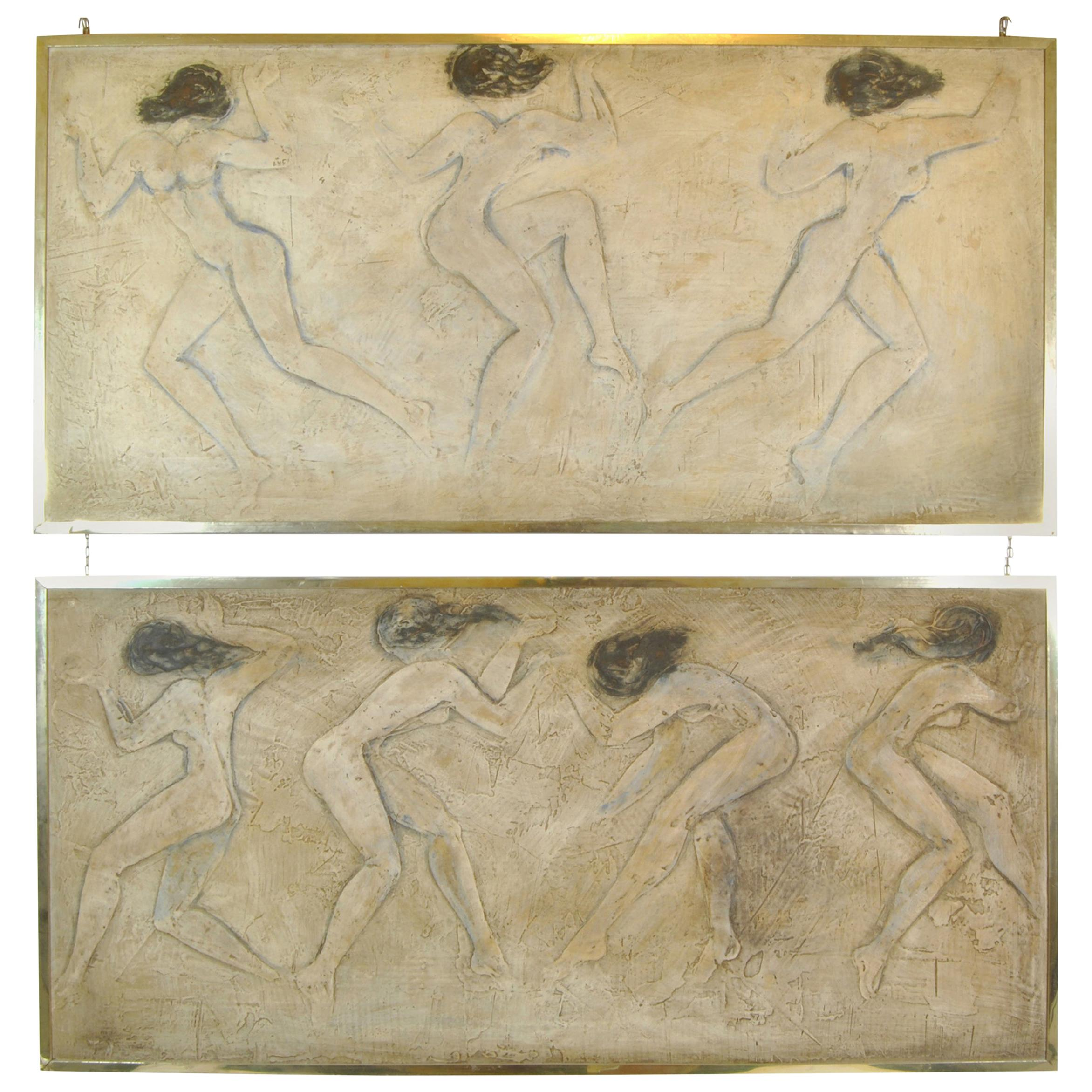 Pair of Bas-Reliefs in Scagliola with Figures of Women, England, 1940