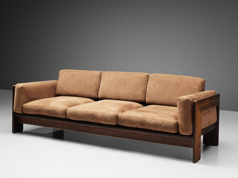 Tobia Scarpa for Knoll, 'Bastiano' sofa, fabric and walnut, Italy, design 1960, manufactured between 1969-1970s  Beautiful Bastiano sofa made with a walnut frame and brown fabric cushions. Tobia Scarpa designed the Bastiano series for the