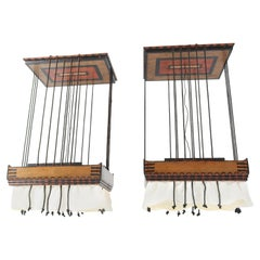 Pair of Batiked Wooden Art Deco Amsterdam School Hanging Lamps by Louis Bogtman