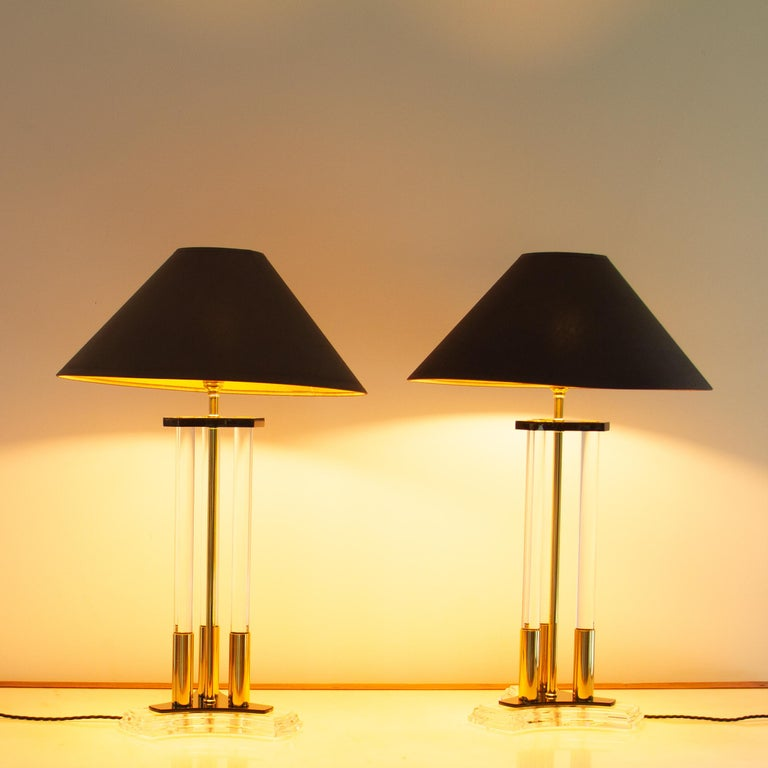 Pair of Bauer Designed Lucite and Brass Lamps, 1980s For Sale 1