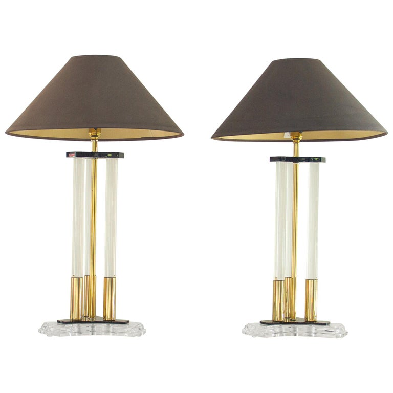 Pair of Bauer Designed Lucite and Brass Lamps, 1980s For Sale