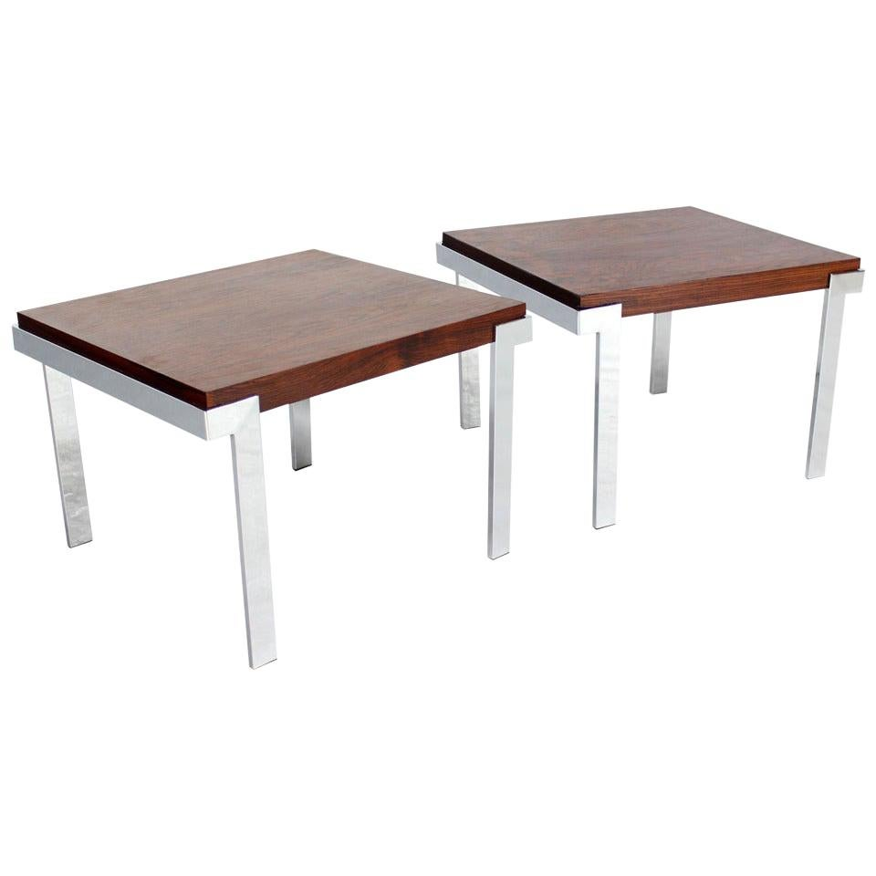 Pair of Baughman Rosewood and Chrome Mid-Century Modern End Tables