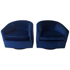 Pair of Baughman Style New Blue Cotton Velvet Swivel Chairs w/ Ebony Wood Bases