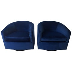 Pair of Baughman Style New Blue Cotton Velvet Swivel Chairs with Ebony Wood Base