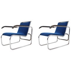 Pair of Bauhaus Chrome Armchairs in Style of Thonet B 35 by Marcel Breuer, 1930s