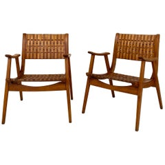 Pair of Bauhaus Lounge Chairs by Erich Dieckmann for Gelenka in Beechwood, 1930s