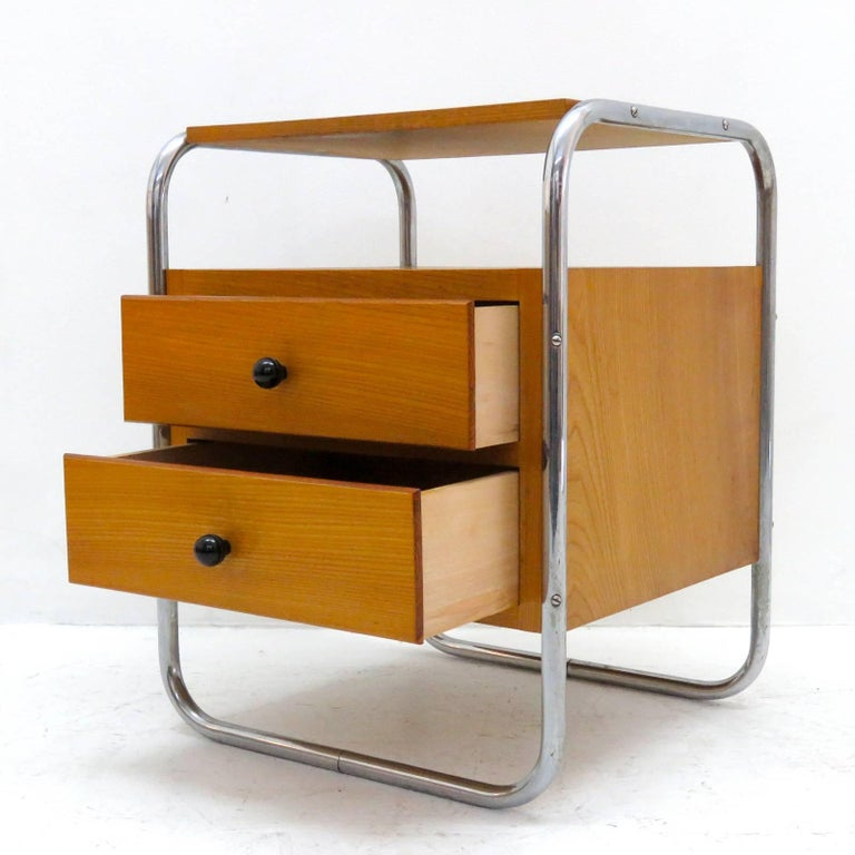 Plated Pair of Bauhaus Nightstands For Sale