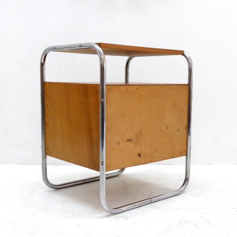 Metal Pair of Bauhaus Nightstands For Sale