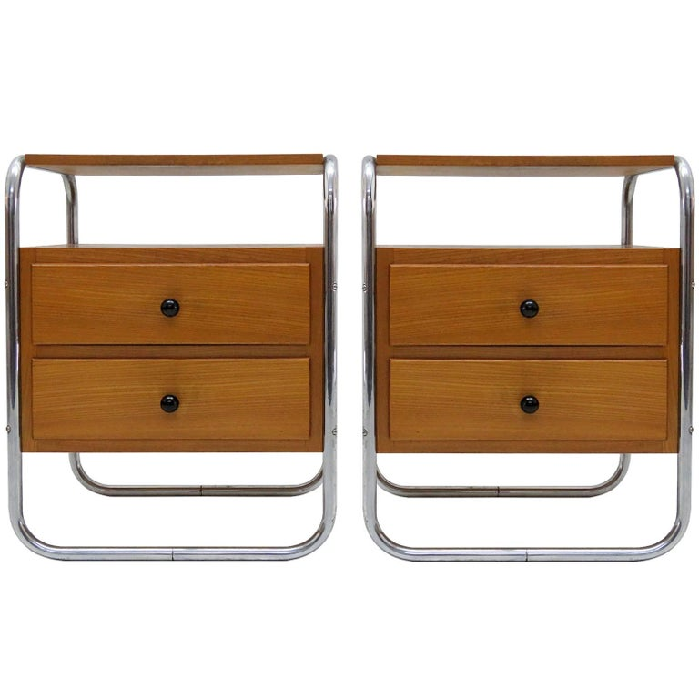 Pair of Bauhaus Nightstands For Sale