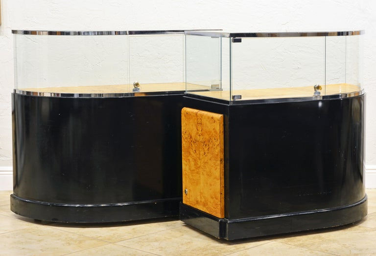 American Pair of Bauhaus Style Black Lacquer, Burled Wood and Chrome Display Counters For Sale