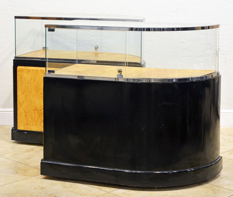Glass Pair of Bauhaus Style Black Lacquer, Burled Wood and Chrome Display Counters For Sale