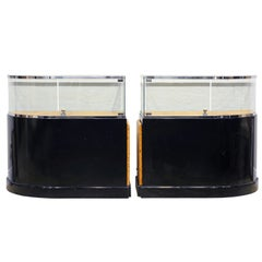 Pair of Bauhaus Style Black Lacquer, Burled Wood and Chrome Display Counters