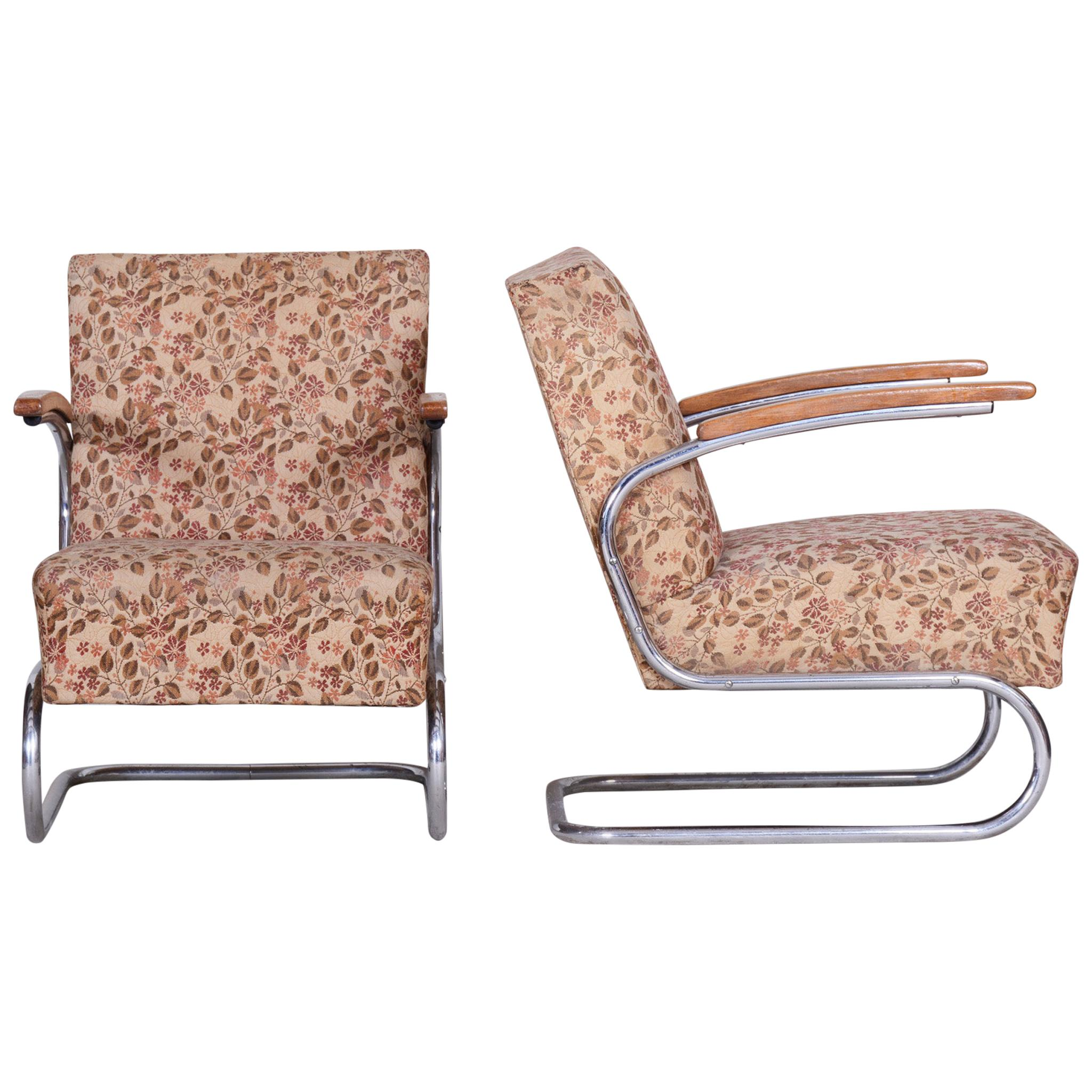 Pair of Bauhaus Tubular Chrome Armchairs by Mücke Melder, Original Fabric, 1930s