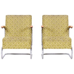 Pair of Bauhaus Tubular Chrome Armchairs by Mücke Melder, Original Fabric, 1930s