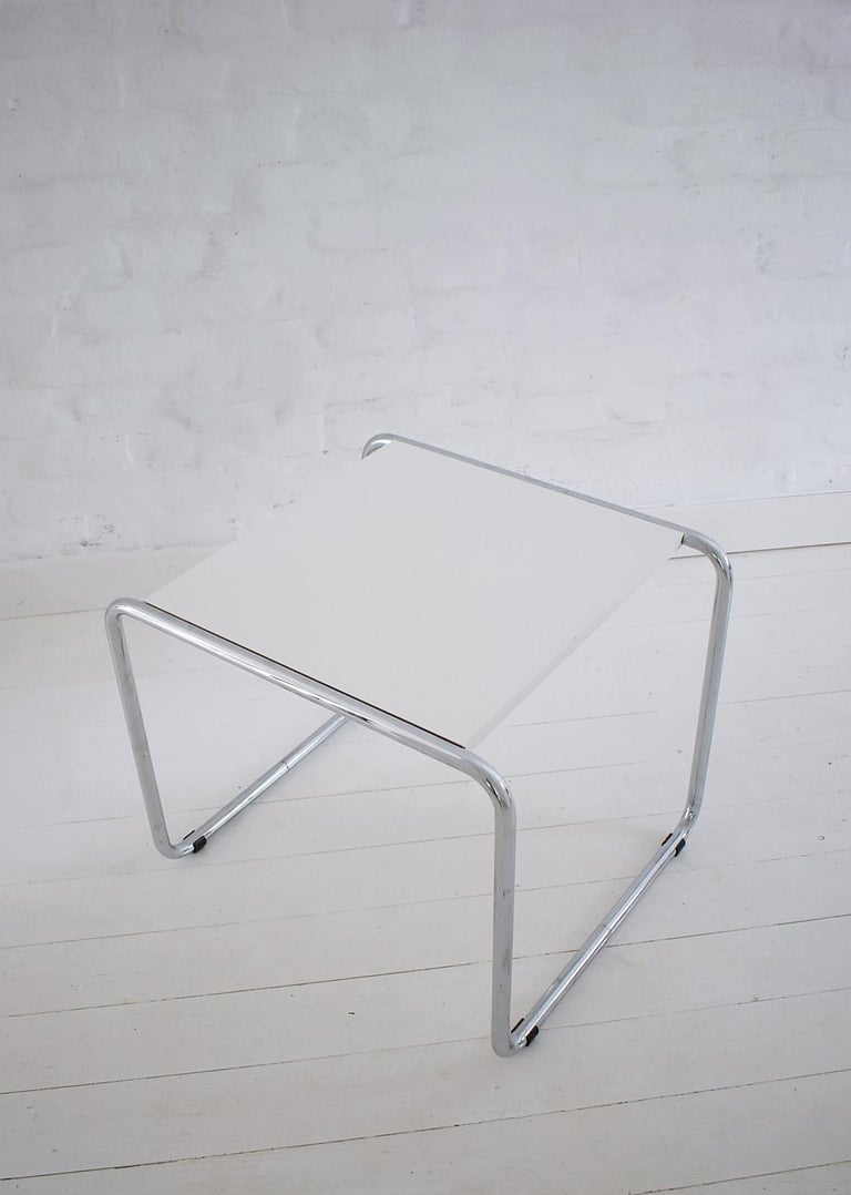 20th Century Pair of Bauhaus Tubular Side Tables after Marcel Breuer, Italy, 1990 For Sale
