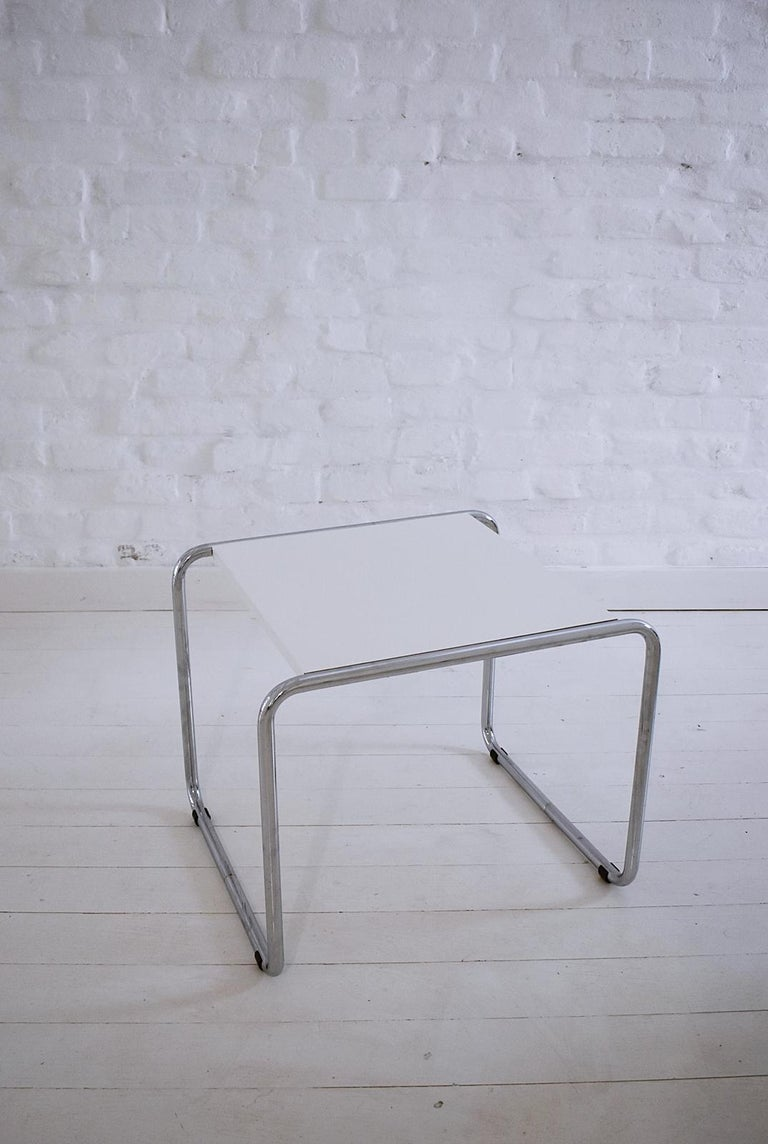 Chrome Pair of Bauhaus Tubular Side Tables after Marcel Breuer, Italy, 1990 For Sale